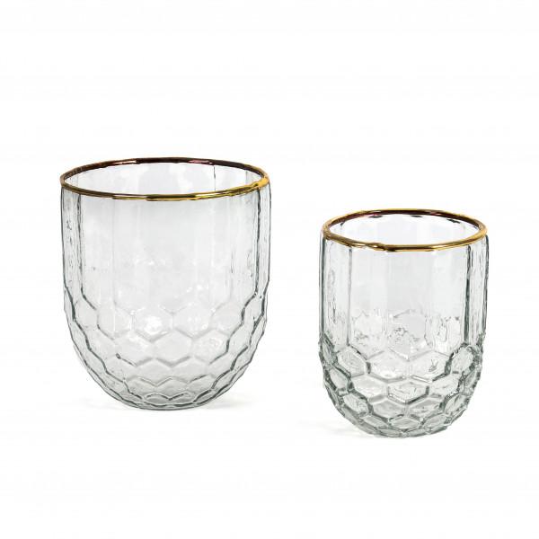 Topf Avignon Glas, klar mit Goldrand