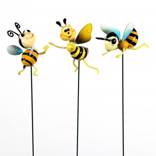 Gartenstecker Wackeltier Bienen, 3 Mod. sort., 9x5,5x70cm, Kunststoff