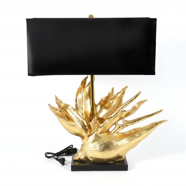 Deko-Lampe Tropical-Flower gold auf schw.Fuß, Schirm innen gold,50x49xh.65cm