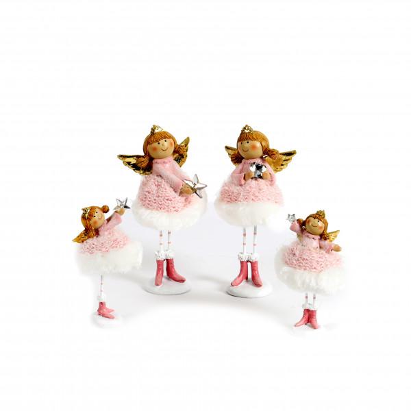 Poly Engel Nia mit rosa Stoffkleid und Kristall-Stern, 2Mod sort