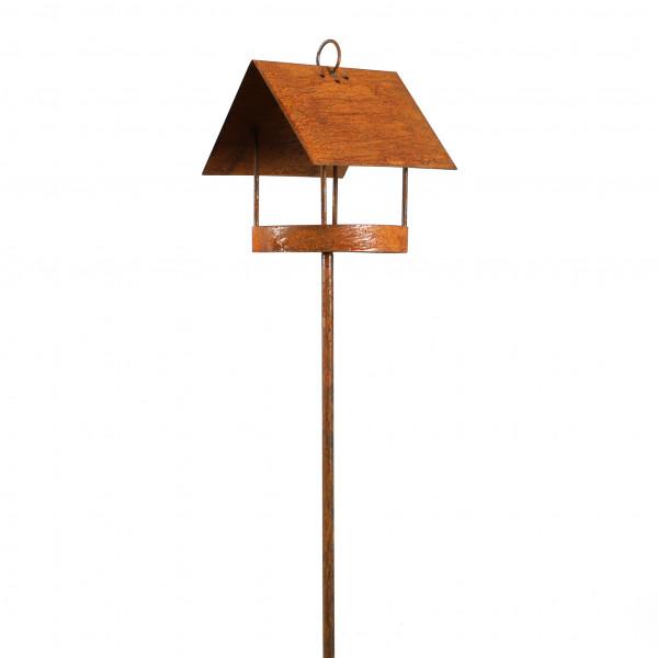 Vogelhaus auf Stab 150cm B22 cm H 30 cm Edelrost