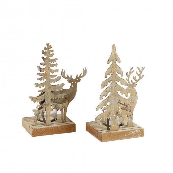Waldszene Teelichthalter x 1, 2 Modelle Metall, 23x15x10 cm, gold