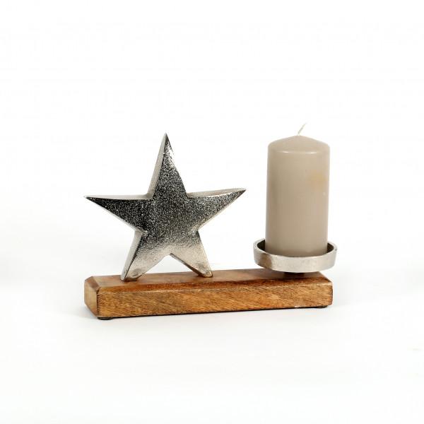 Kerzenhalter Stern Alu-Holz 17x16x5 cm