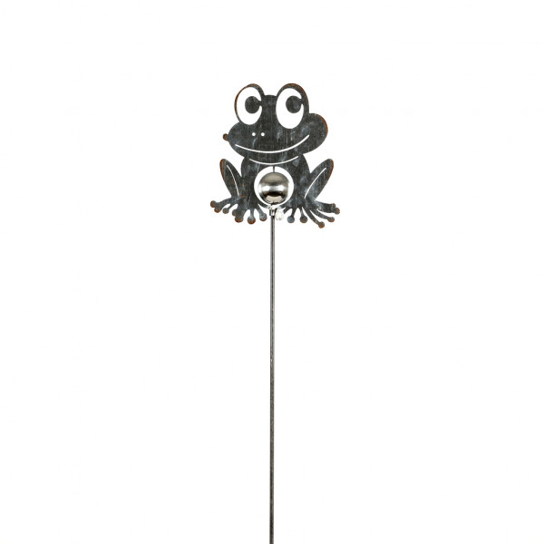 Gartenstecker Frosch Smiley Zink natur, 14x4x98 cm