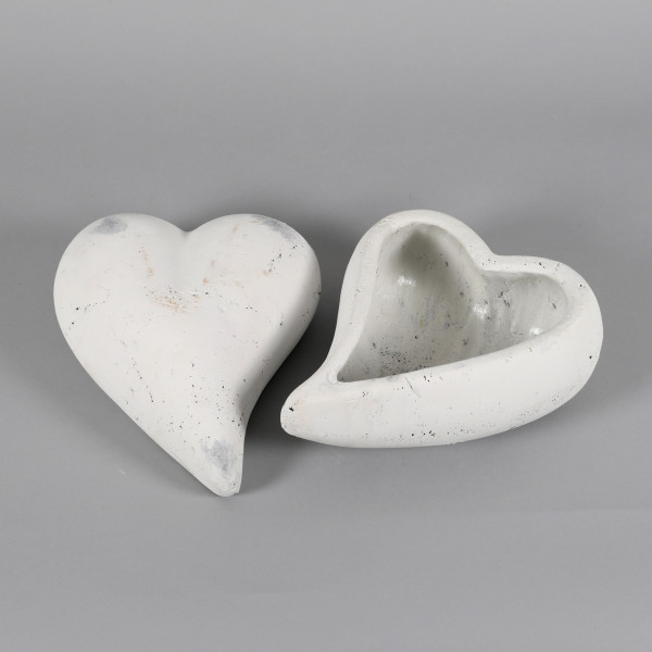 Keramik,Pflanz oder Deko Herz 27x21cm: weiß