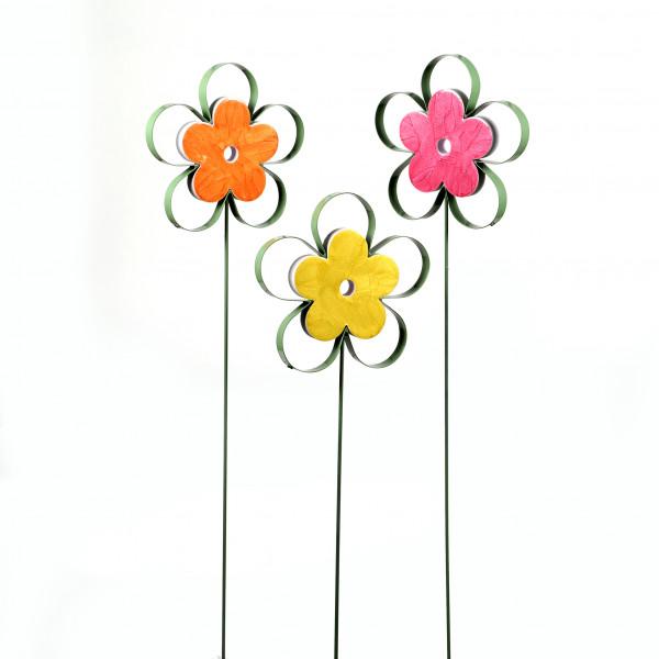 Gartenstecker Blume Metall m. Kunststoff, 21,5x2x92,5 cm, 3fb sort.