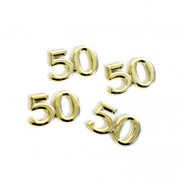 Streuteile Zahl 50 gold Blt. x 4 Stück