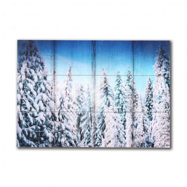 Wandbild Winterwald MDF, 100x70x1,8 cm