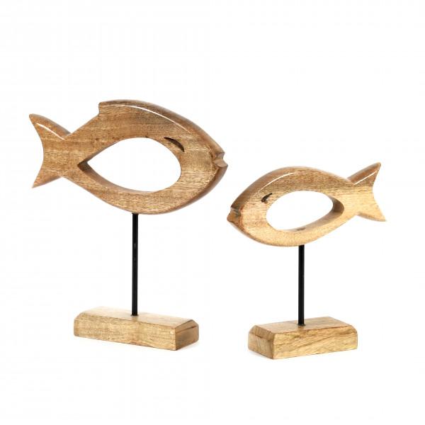 Standdeko Fisch Mangoholz natur