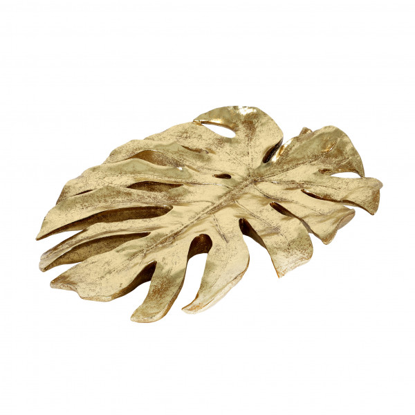 Deko Monstera-Blatt, Poly, gold 49x42 cm