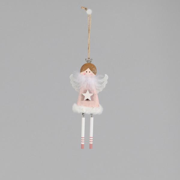 Engel Alice , Holz, mit Baumelbeinen +Stola, 18x8x1.2 cm, rosa