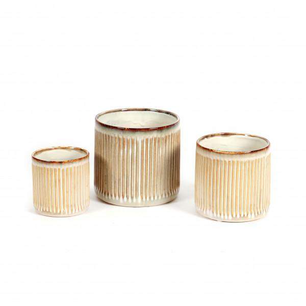 Keramik Zylindertopf mit Rillen