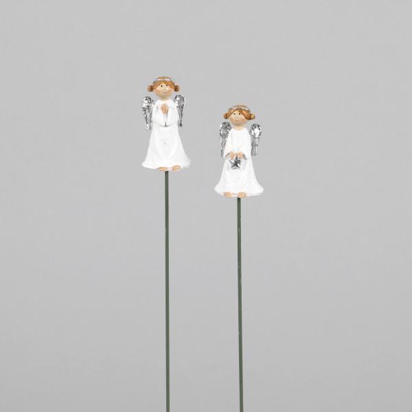 Poly Engel-Stecker, 2Mod.sort. weiß m. silber, 3x2.5x29 cm