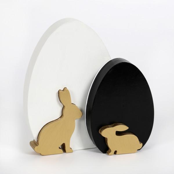 Deko-Ei Hasen ,Holz, 3 D, schwarz-weiss- gold, 19x2,5x20 cm