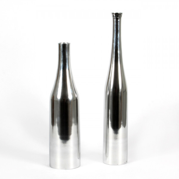 Flasche Glamour Alu, 8x8x30 cm , silber
