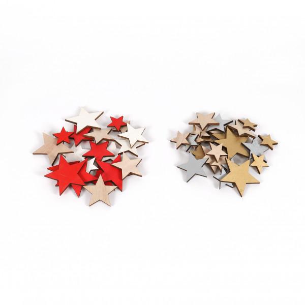 Holz-Sterne flach,Gr:4,5,7,5cm