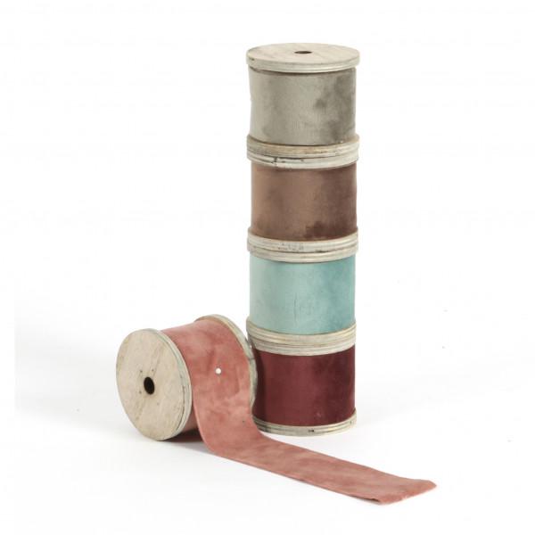 Textilband Samt auf Holzspule, 5x300 cm