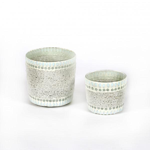 Windlicht Pearl Glas mit Perlen,weiß
