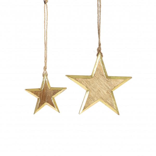 Stern z.hängen, Holz, gold-natur