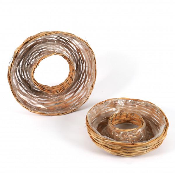 Rattan Pflanz-Ring, Set/3 natur-farbig, 35x10/30x8 cm