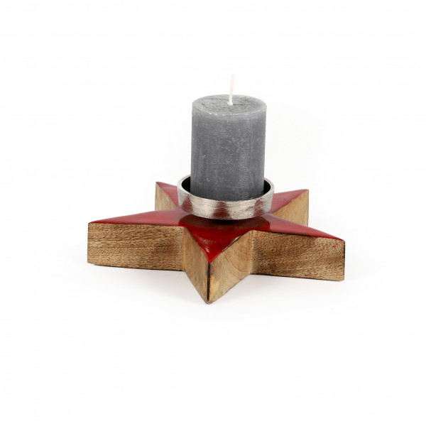 Stern m.Kerzenteller Glossy Holz,transp. rot, 20x7 cm