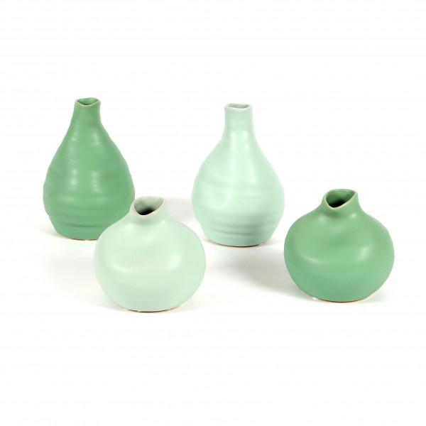 Keramik Vase, bauchig, 2 Modelle 9/14cm matt grün+hell-grün sortiert