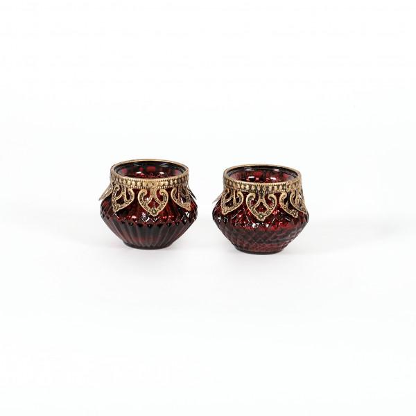Teelichtglas Elis Glas, bauchig, 2 Mod mit Metallbeschlag,8x6,5 cm, rot
