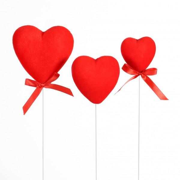 Herz am Stab, Flock, Kunststoff rot