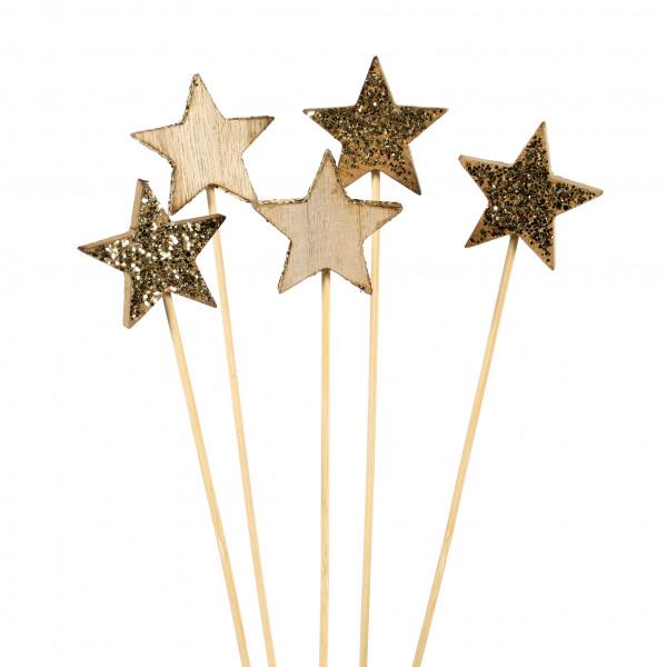 Stecker Stern Luci MDF, Natur Gold, Glimmer, 2 Modelle,5x29cm