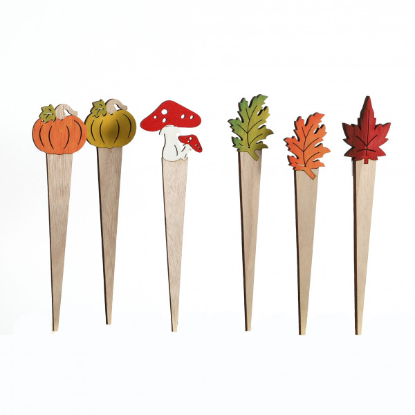 Blumenstecker Herbst Holz 6,5x29 cm, 6 Modelle