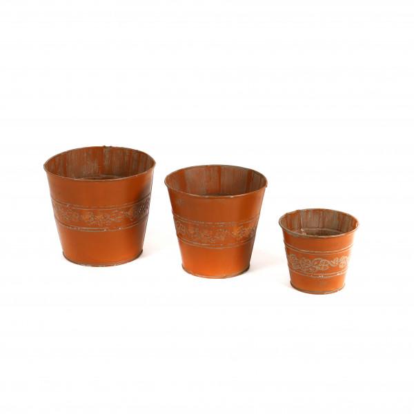 Zinktopf Blumenranke, orange antik,brown washed
