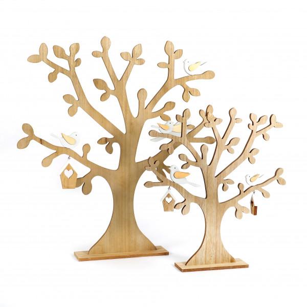 Deko-Baum, Holz, mit Vögelchen, natur