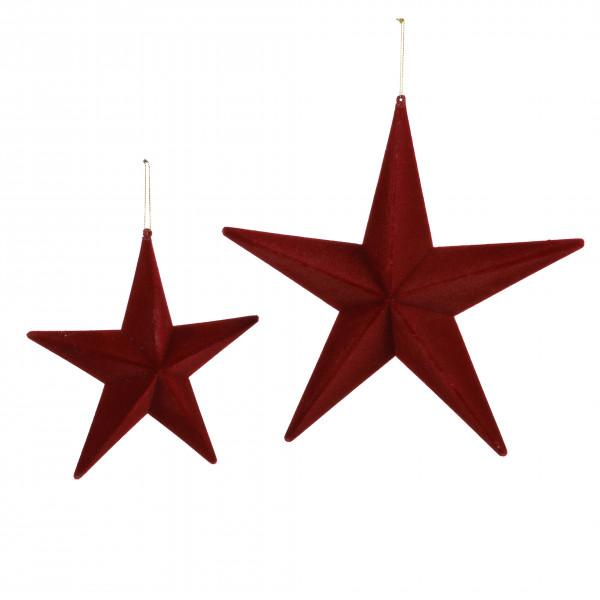 Stern zum hängen, beflockt, dunkel rot