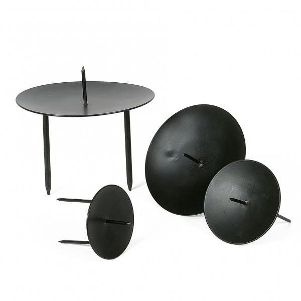 Kerzenteller Eisen flach schwarz
