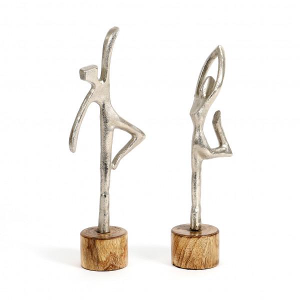 Standdeko Ballerina Mangoholz-Alu, natur ca 31/34 cm, 2 Modelle