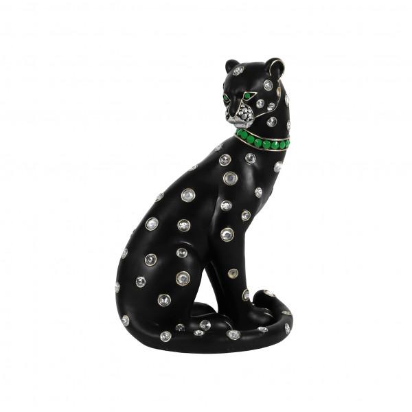 Poly-Leopard sitzend, schwarz 25x19x38cm mit Juwelen besetzt