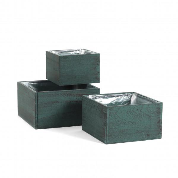Holzkiste quadratisch,grün-schwarz S/3,24x13/20x12/16x11cm