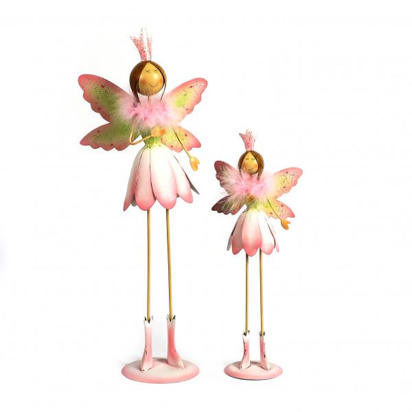 Metall-Elfe Zada auf schlanken Beinen antik-weiß m.rosa
