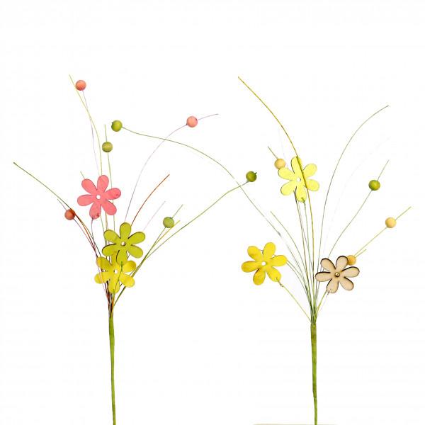 Blumenstecker Holz mit Deko-Perlen 2 Farben sortiert, Länge 40cm