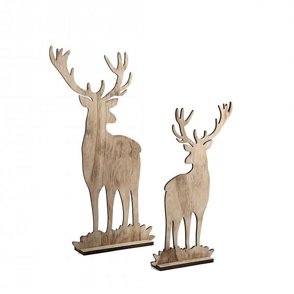 Hirsch, Holz, natur-gewischt