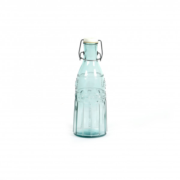 Glasflasche m. Bügelverschluss 1L, H28cm D10cm, klarglas