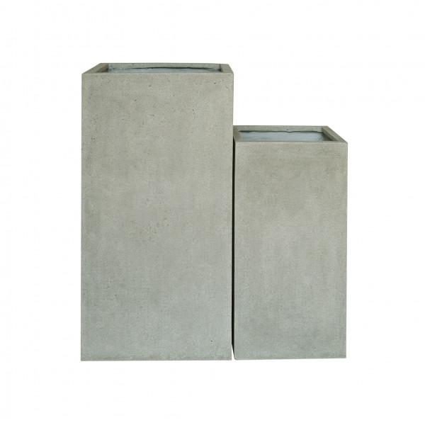Creastone Vase, quadratisch grau