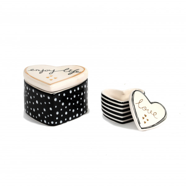 Keramik Herz-Dose, schwarz/weiß