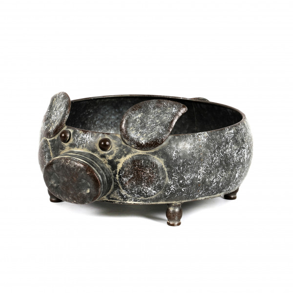 Zink-Schale Pflanz-Schwein Herbie rund, 34xh15 cm