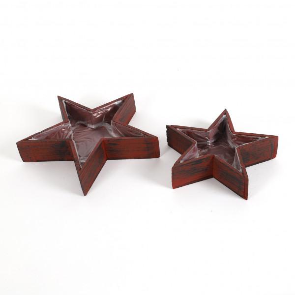 Sternentopf,Holz, rot-schwarz gewischt S/2, 33x6/25x6 cm