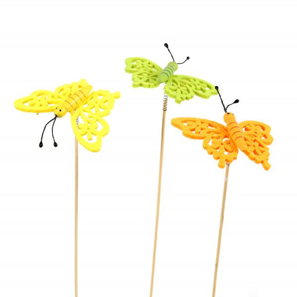 Blumenstecker Schmetterling Filz,3 fb 10x25 cm, grün, gelb, orange