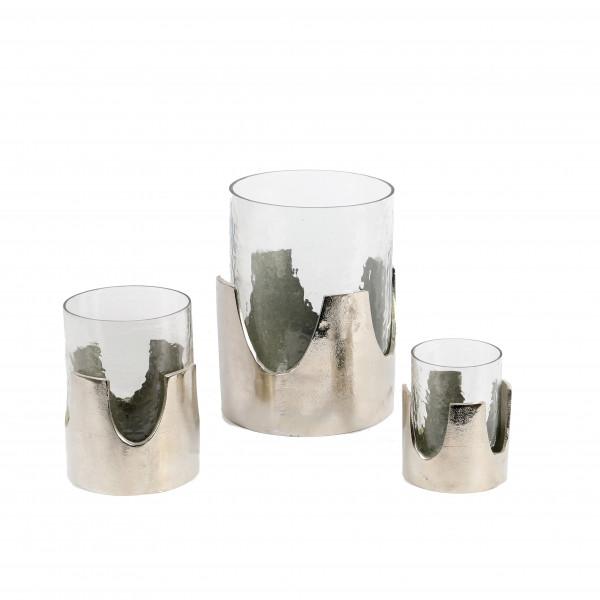 Windlicht Krone , Metall/Aluguss silber
