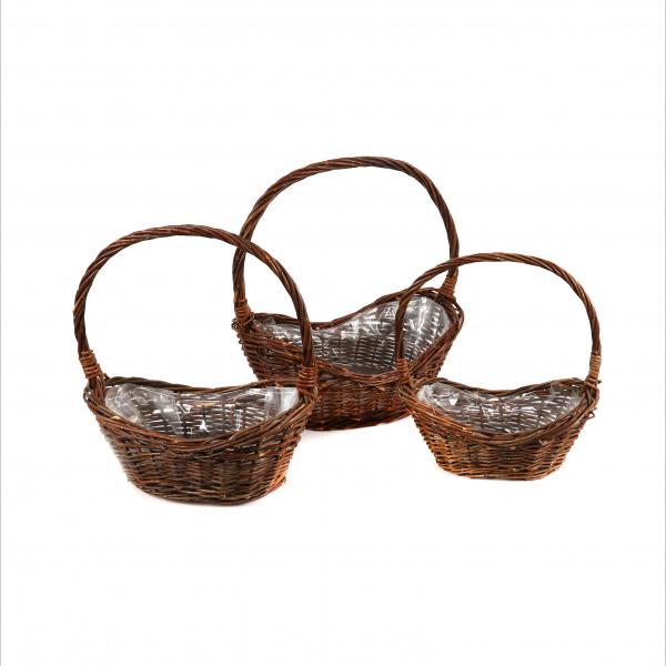 Weiden Korb Oval mit Bügel, Set/3 natur,42x26xh19/36x22xh16/30x18xh14
