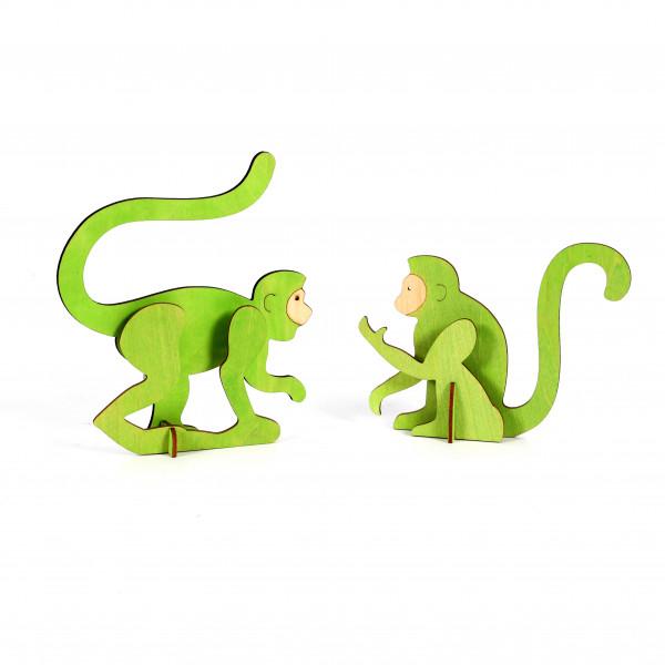 Affe Maki Holz, grün, 3D