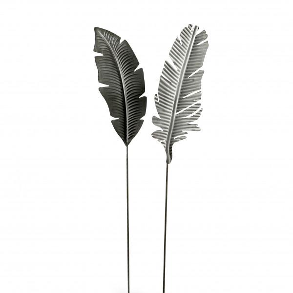 Gartenstecker Leaf Metall,2 Mod. grau, 45x16x100/40x16x100 cm